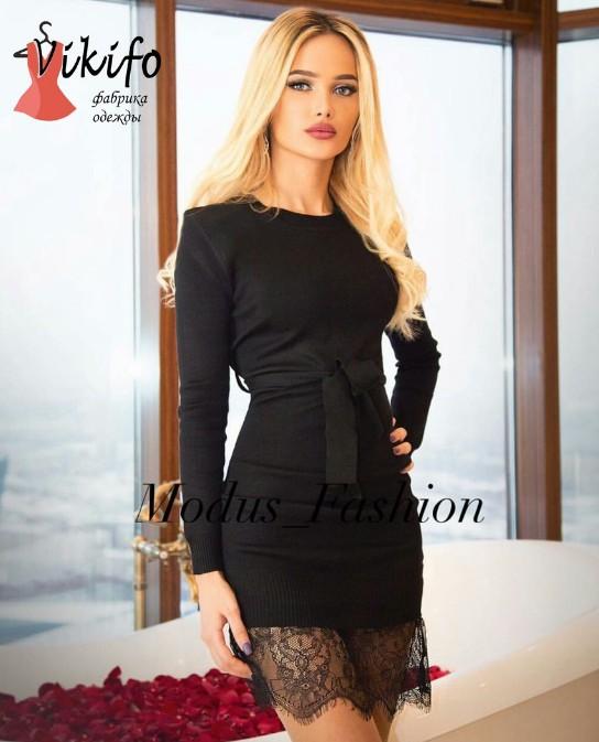 153d3fe9ecc Заказать вязаное черное платье с французским кружевом хит сезона ...
